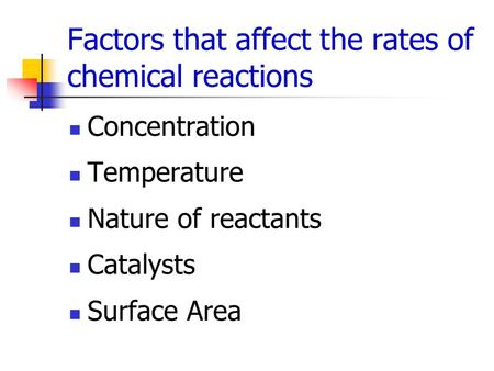 Factors that affect the rates of chemical reactions Concentration Temperature Nature of reactants Catalysts Surface Area.