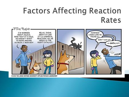  There are several factors affect reaction rates ◦ Concentration ◦ Surface area (Particle size) ◦ Temperature ◦ Catalysts ◦ Inhibitors.
