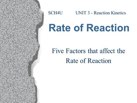 Rate of Reaction Five Factors that affect the Rate of Reaction SCH4U UNIT 3 - Reaction Kinetics.