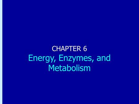 Chapter 6: Energy, Enzymes, and Metabolism CHAPTER 6 Energy, Enzymes, and Metabolism.