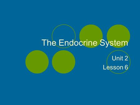 The Endocrine System Unit 2 Lesson 6. Objectives Explain how glandular system can affect behavior. Distinguish between endocrine and exocrine. Locate.