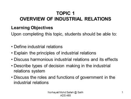 TOPIC 1 OVERVIEW OF INDUSTRIAL RELATIONS
