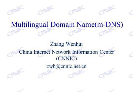 Multilingual Domain Name(m-DNS) Zhang Wenhui China Internet Network Information Center (CNNIC)