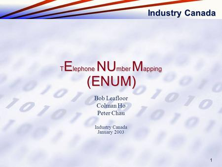 Industry Canada 1 Bob Leafloor Colman Ho Peter Chau Industry Canada January 2003 (ENUM) T E lephone NU mber M apping.