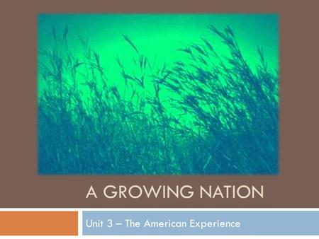 Unit 3 – The American Experience