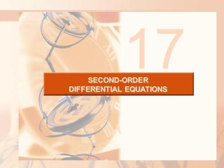 SECOND-ORDER DIFFERENTIAL EQUATIONS 17. 17.4 Series Solutions SECOND-ORDER DIFFERENTIAL EQUATIONS In this section, we will learn how to solve: Certain.