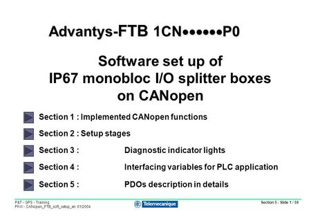 Section 5 - Slide 1 / 59 P&T - GPS - Training PhW - CANopen_FTB_soft_setup_en 01/2004 Section 2 :Setup stages Section 3 : Diagnostic indicator lights Section.