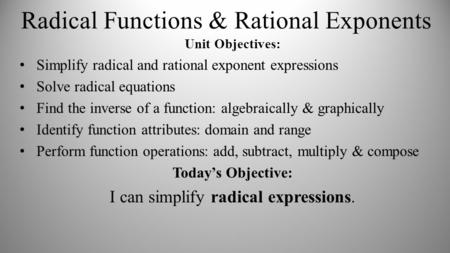 Radical Functions & Rational Exponents