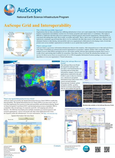 National Earth Science Infrastructure Program AuScope Limited Headquarters School of Earth Sciences University of Melbourne Victoria 3010 Tel 03 8344 8351.