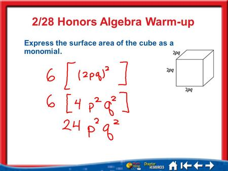 2/28 Honors Algebra Warm-up