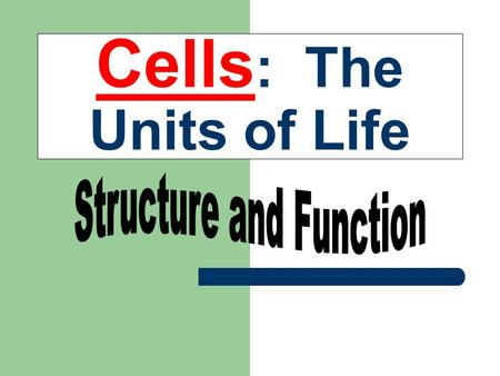 Cells : The Units of Life. The Cell Theory Some Random Cell Facts The average human being is composed of around 100 Trillion individual cells!!! It would.