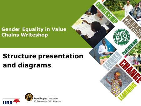 Structure presentation and diagrams Gender Equality in Value Chains Writeshop.