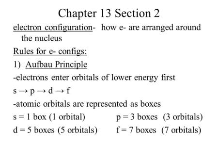 Chapter 13 Section 2 electron configuration- how e- are arranged around the nucleus Rules for e- configs: 1)Aufbau Principle -electrons enter orbitals.