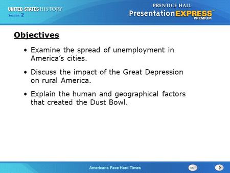 Objectives Examine the spread of unemployment in America's cities.