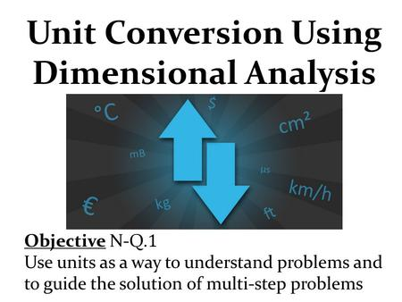 Unit Conversion Using Dimensional Analysis Objective N-Q. 1 Use units as a way to understand problems and to guide the solution of multi-step problems.