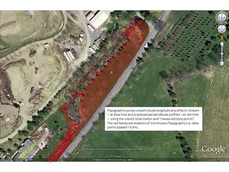 DAY Care Topographic survey would include longitudinal profile (in stream – as blue line) and proposed perpendicular profiles – as red lines – using the.