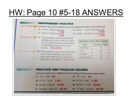 HW: Page 10 #5-18 ANSWERS. Agenda: 6 th Gr. Math: 1-3 HW Page 14 #10-24 all.
