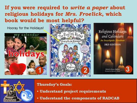 Thursday's Goals: Understand project requirements Understand the components of RADCAB If you were required to write a paper about religious holidays for.