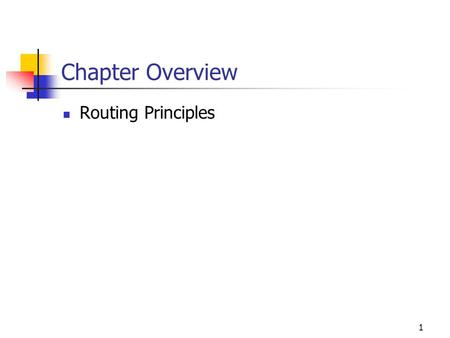 1 Chapter Overview Routing Principles. Understanding Routing--important Routing refers to the process of taking a packet from one device and sending it.