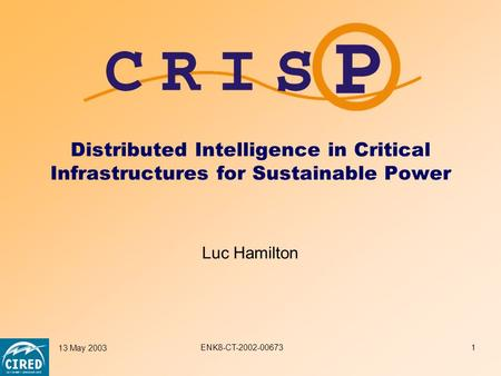 ENK8-CT-2002-00673 13 May 20031 Distributed Intelligence in Critical Infrastructures for Sustainable Power Luc Hamilton.