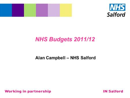 NHS Budgets 2011/12 Alan Campbell – NHS Salford. Introduction National Policy for Health Organisational change Quality Innovation Productivity and Prevention.