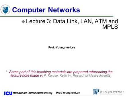 Prof. Younghee Lee 1 1 Computer Networks u Lecture 3: Data Link, LAN, ATM and MPLS Prof. Younghee Lee * Some part of this teaching materials are prepared.