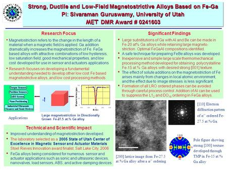 Strong, Ductile and Low-Field Magnetostrictive Alloys Based on Fe-Ga PI: Sivaraman Guruswamy, University of Utah MET DMR Award # 0241603 Technical and.