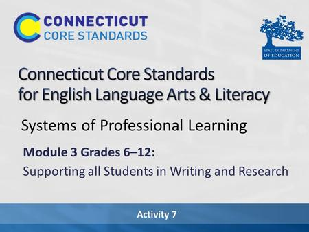 Activity 7 Systems of Professional Learning Module 3 Grades 6–12: Supporting all Students in Writing and Research.