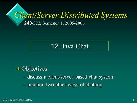 240-322 Cli/Serv.: Chat/121 Client/Server Distributed Systems v Objectives –discuss a client/server based chat system –mention two other ways of chatting.