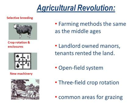 Agricultural Revolution: Farming methods the same as the middle ages Landlord owned manors, tenants rented the land. Open-field system Three-field crop.