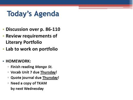 Today's Agenda Discussion over p. 86-110 Review requirements of Literary Portfolio Lab to work on portfolio HOMEWORK: ▫ Finish reading Mango St. ▫ Vocab.