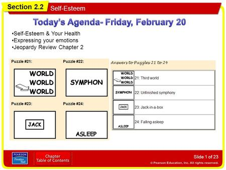 Section 2.2 Self-Esteem Slide 1 of 23 Self-Esteem & Your Health Expressing your emotions Jeopardy Review Chapter 2.