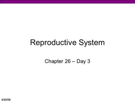 "4/20/08 Reproductive System Chapter 26 – Day 3. 4/20/08 Gametogenesis  Production of gametes = haploid ""sexual reproduction"" cells  Testes = Spermatogenesis."