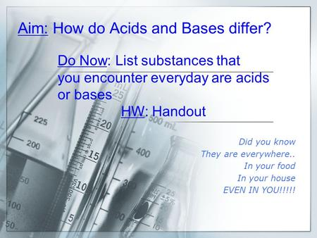 Aim: How do Acids and Bases differ? Did you know They are everywhere.. In your food In your house EVEN IN YOU!!!!! Do Now: List substances that you encounter.