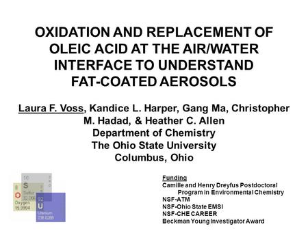 OXIDATION AND REPLACEMENT OF OLEIC ACID AT THE AIR/WATER INTERFACE TO UNDERSTAND FAT-COATED AEROSOLS Laura F. Voss, Kandice L. Harper, Gang Ma, Christopher.
