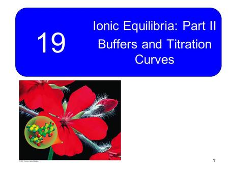 1 19 Ionic Equilibria: Part II Buffers and Titration Curves.