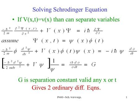 P460 - Sch. wave eqn.1 Solving Schrodinger Equation If V(x,t)=v(x) than can separate variables G is separation constant valid any x or t Gives 2 ordinary.