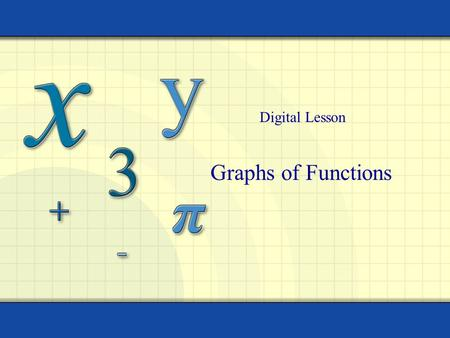 Graphs of Functions Digital Lesson. Copyright © by Houghton Mifflin Company, Inc. All rights reserved. 2 The graph of a function f is the collection of.
