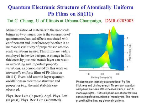 Quantum Electronic Structure of Atomically Uniform Pb Films on Si(111) Tai C. Chiang, U of Illinois at Urbana-Champaign, DMR-0203003 Miniaturization of.