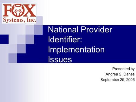 National Provider Identifier: Implementation Issues Presented by Andrea S. Danes September 25, 2006.