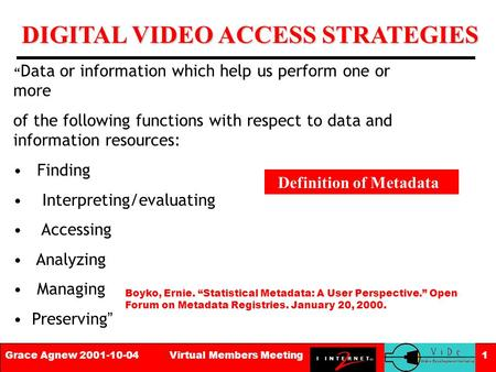 "DIGITAL VIDEO ACCESS STRATEGIES Grace Agnew 2001-10-04 Virtual Members Meeting 1 "" Data or information which help us perform one or more of the following."