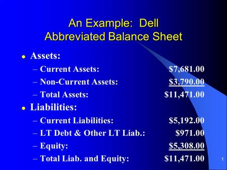 1 An Example: Dell Abbreviated Balance Sheet l Assets: –Current Assets:$7,681.00 –Non-Current Assets:$3,790.00 –Total Assets:$11,471.00 l Liabilities: