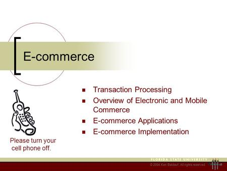 © 2004 Ken Baldauf, All rights reserved. E-commerce Transaction Processing Overview of Electronic and Mobile Commerce E-commerce Applications E-commerce.