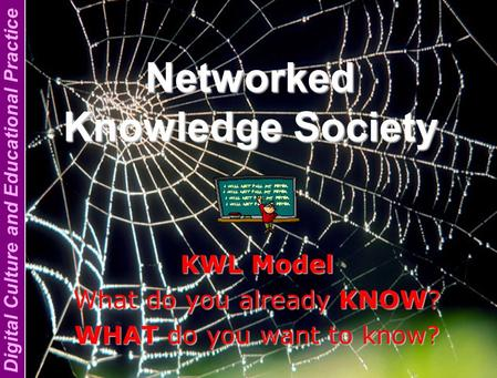 Digital Culture and Educational Practice Networked Knowledge Society KWL Model What do you already KNOW? WHAT do you want to know?