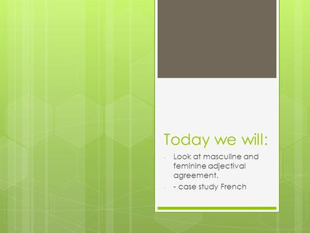 Today we will: - Look at masculine and feminine adjectival agreement. - - case study French.
