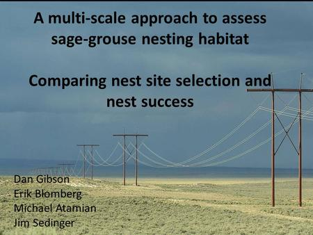 A multi-scale approach to assess sage-grouse nesting habitat Comparing nest site selection and nest success Dan Gibson Erik Blomberg Michael Atamian Jim.