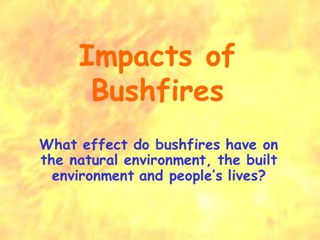 Impacts of Bushfires What effect do bushfires have on the natural environment, the built environment and people's lives?