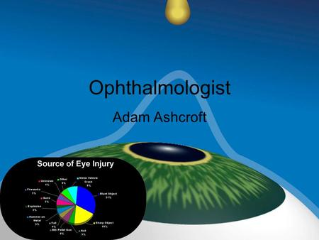 Ophthalmologist Adam Ashcroft. Duties and Responsibilities Diagnoses and treats eye diseases. Can prescribe glasses/ contacts. Can perform surgery on.
