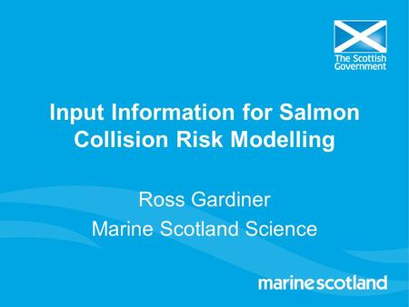 Input Information for Salmon Collision Risk Modelling Ross Gardiner Marine Scotland Science.