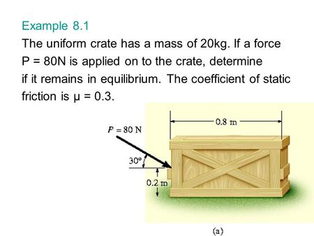 Example 8.1 The uniform crate has a mass of 20kg. If a force P = 80N is applied on to the crate, determine if it remains in equilibrium. The coefficient.